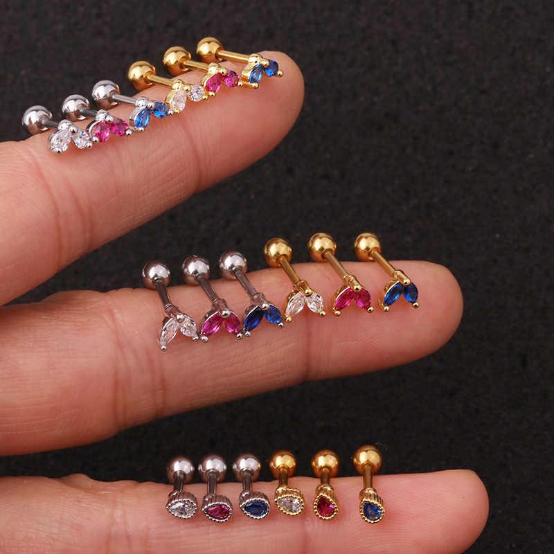 Sellsets 1 piece dainty new drop marquise leaf shape 핑크 블루 크리스탈 cz 16g 스크류 스틸 귀걸이 tragus daith piercing jewelry