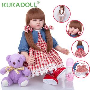 KUKADOLL 24 Inch Reborn Baby Dolls Cloth Body 60 CM Bebe Reborn Boneca Princess Doll Toy For Kid Birthday Gift Christmas Present(China)