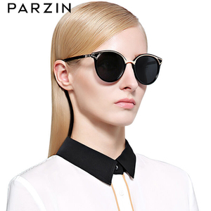 Image 2 - PARZIN Retro Sunglasses Women Golden Rim Fashion Elegant Ladies Round Sun Glasses Polarized Eyewear Luxury Designer GafaDe Sol