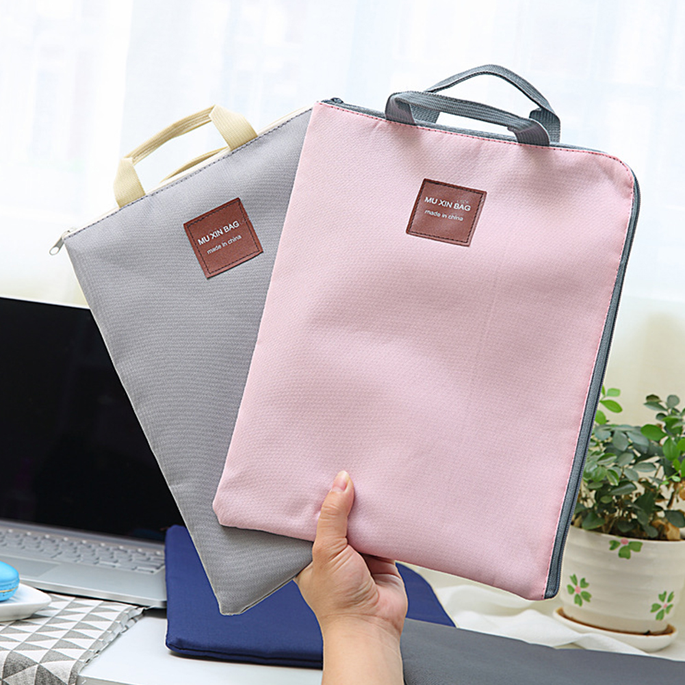 A4 Double Layer With Handle Folder Portfolio Document Bag Stationery Organizer Zipper File Pocket Nylon School Office Portable