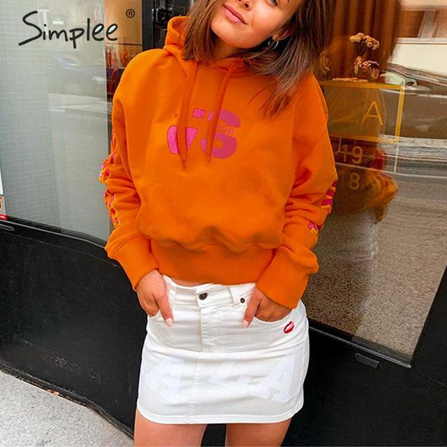 Simplee Casual letters print women hoodies Long sleeve autumn winter female cropped sweatshirts Chic party club ladies hoodies