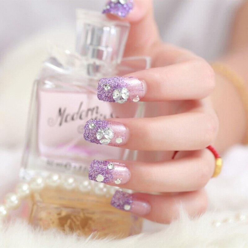 Useful 24 Pcs/Set Purple Bride Full Nails Tips Bright Shining 3D Diamond Rhinestone Fake Nail For Women Nail Art