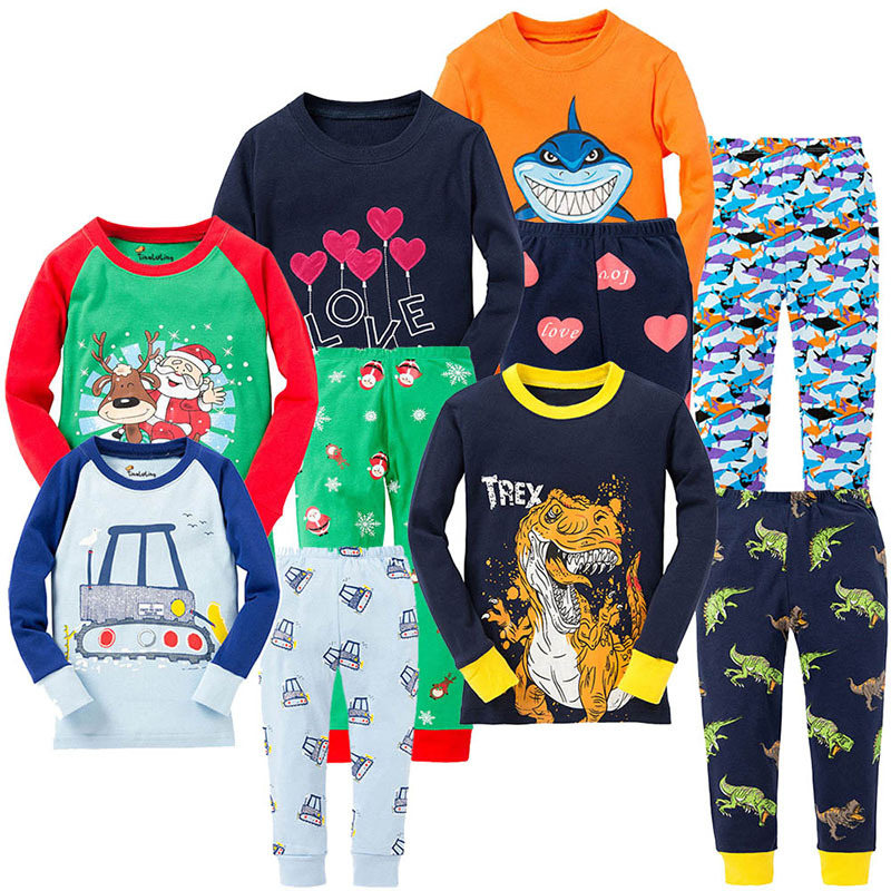 SAILEROAD Childrens pajamas Set Cartoon Dinosaur Pajamas Kids Christmas Pyjamas  Animals Printed Pijama Girls Cotton Sleepwear