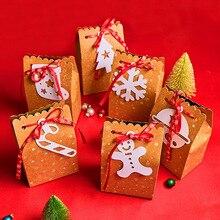 Behogar 12pcs Merry Christmas Candy Treat Goodie Box Party Favors Kraft Paper Bags