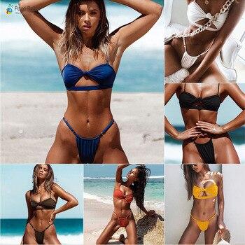Para praia 2020 Micro Swimwear Mini Women Swimsuit Sexy Bandage Brazilian Bikini Set Push Up Swimwear Women Biquini Beachwear cheeky thong black sexy badpak buckle bikini set 2018 swimwear women brazilian push up swimsuit high cut bandage biquini set