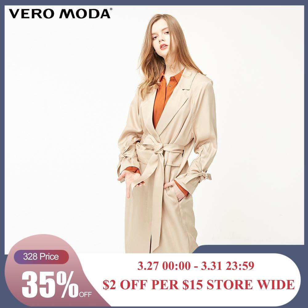 Vero Moda Women's Lace-up Concealed Buttons Lapel Trench Coat | 319121511