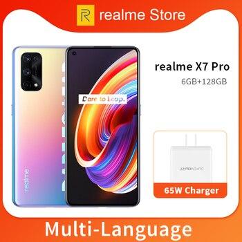 Перейти на Алиэкспресс и купить Realme X7 Pro 8GB 128GB смартфон 5G 6,4 дюймов 120 Гц активно-матричные осид, Экран 64MP Quad камеры 4500 мА/ч, 65 Вт быстро Зарядное устройство Dimensity 1000 NFC