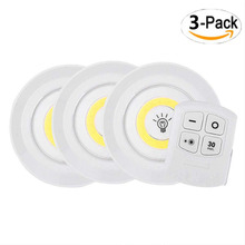 3Pcs LED Light With Remote Control Wardrobe LED Lights Cabinet Usb Rechargeable Puck Operated Dimmable COB Closet Lanterns