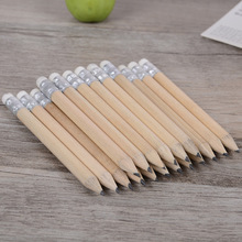 5 PcsMini Size Simple Wood Pencil With Eraser Log Pencil Short Size Pencil For Kids And Children