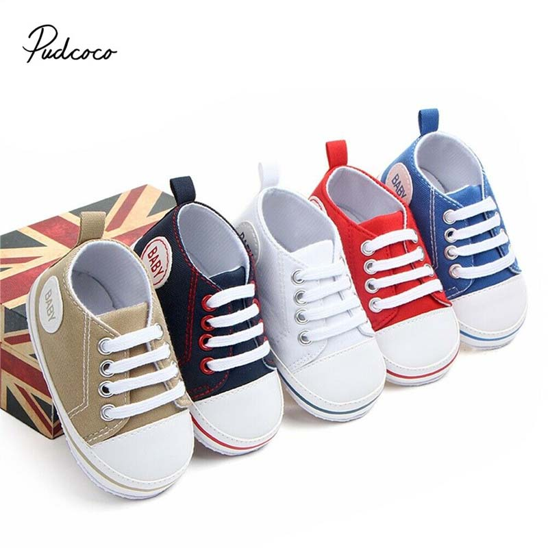 2020 Baby First Walkers Cute Newborn Kid Canvas Sneakers Baby Boy Girl Soft Sole Crib Shoes Pre Walkers 1