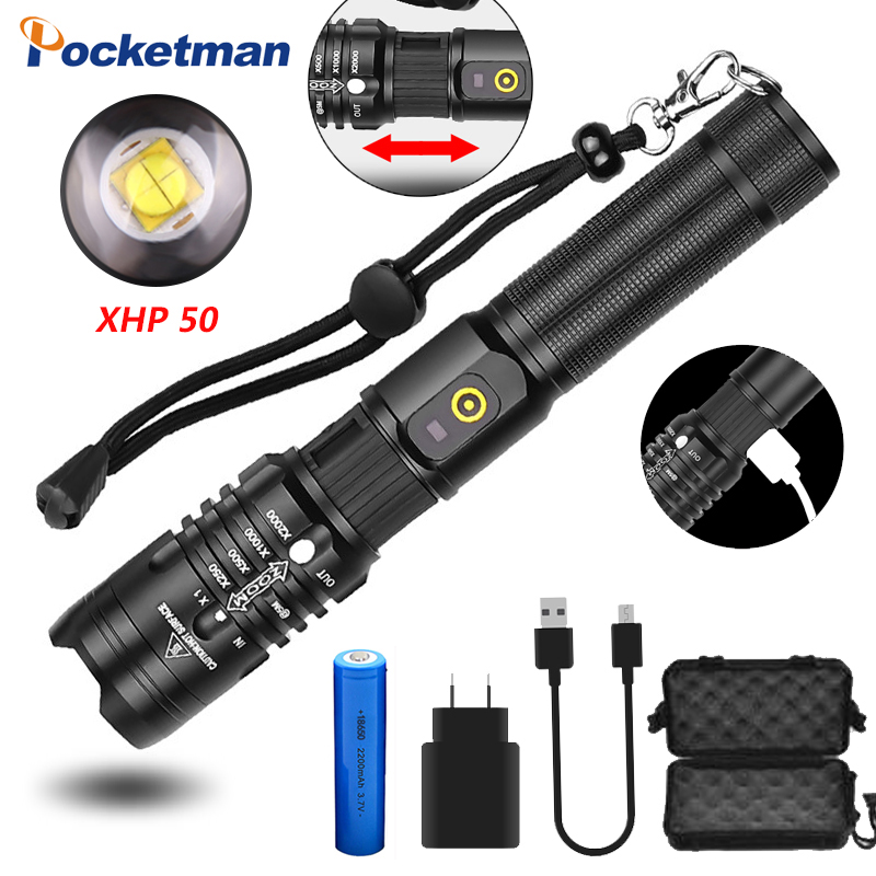 POCKETMAN Brightest Flashlight Xhp50.2 Most Powerful Flashlight 18650 Usb Torch Xhp50 Lantern 18650 Hunting Lamp Hand Light