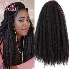 Marley Crochet Braiding Hair Extensions Natural Black 18 Inch Synthetic Fluffy Braids Afro African Kinky Curly Hair Braid SOKU cheap Low Temperature Fiber CN(Origin) Marley Braids 20strands pack Pure Color DRBF-9195D 19strands pack