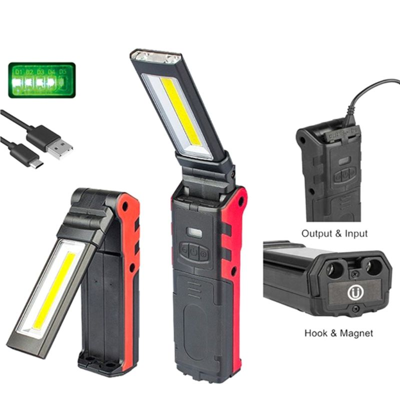 Super Bright COB LED Working Light With Magnetic Base & Hook USB Rechargeable Dimmable Flashlight D08F