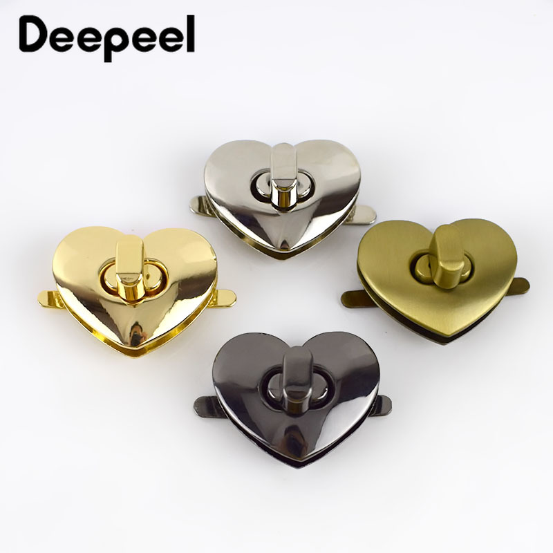 Deepeel 2/5pcs Bag Metal Clasp Turn Twist Lock Clasp DIY Handbag Purse Heart Shape Hardware Closure Bag Parts Accessories E6-6