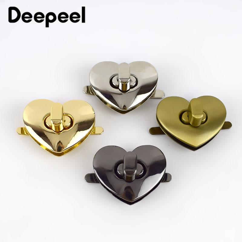 Deepeel 2/5pcs Bag Metal Clasp Turn Twist Lock Clasp DIY Handbag Purse Heart Shape Hardware Closure Bag Parts Accessories E6-6