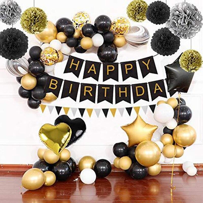 Ballons de feuille d'or noir décorations de fête de joyeux anniversaire pour adulte bannière papier de soie pompons fournitures de cadeau d'anniversaire