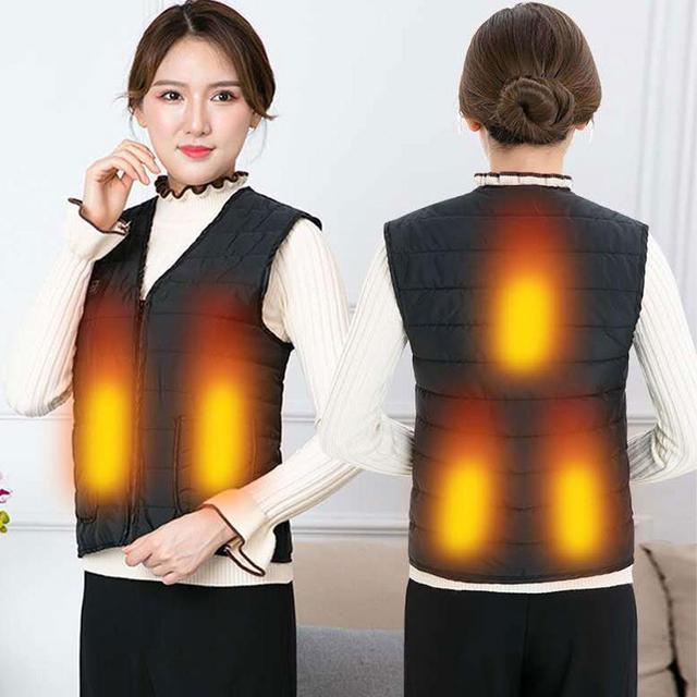 2020 Brand New Smart USB kamizelka grzewcza na zimę 5 sztuk folia grzewcza elektryczna 3 biegi regulowane ciepłe ubrania kolarstwo na świeżym powietrzu kamizelka tanie i dobre opinie CN (pochodzenie) WOMEN Pasuje prawda na wymiar weź swój normalny rozmiar Smart Heating Vest Brak COTTON Termiczne Heating Vest for men and women