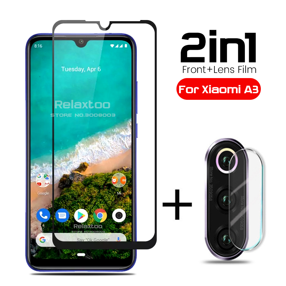 2 In 1 Xiaomia3 Glass Camera Lens Film Screen Protector Tempered Glass For Xiaomi Mi A3 Xiomi Mia3 Mi3a Mi A 3 3a Safety Glas