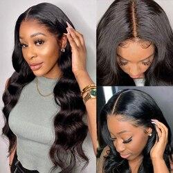 Объемная волна парик часть синтетические волосы парик шнурка натуральные волосы производства Бразилии парики кружева передние человеческ...