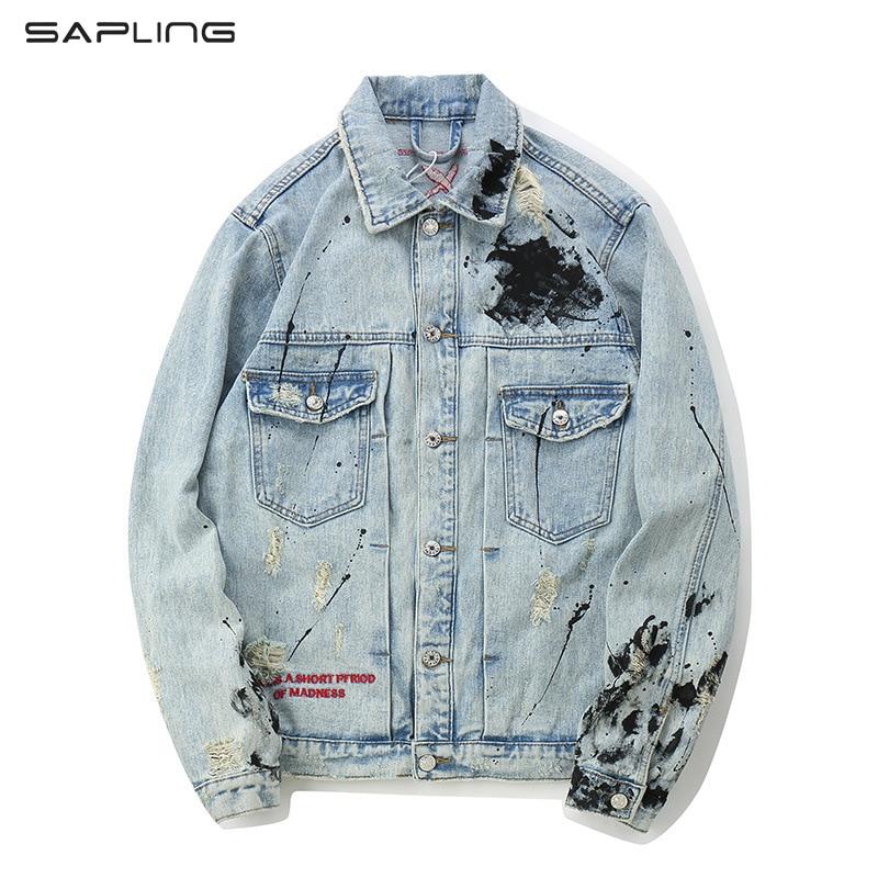Fashion Graffiti Hip Hop Denim Jacket Men Streetwear Harajuku Patchwork Ripped Distressed Punk Rock Jean Tops Casual Male Coats