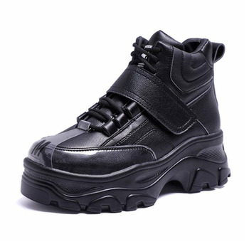 Coolcept Women Sneaker Fashion Fur Inside High Heel Warm Shoes Women Lace Up Casual Shoes Platform Lady Footwear Size 35-41 1