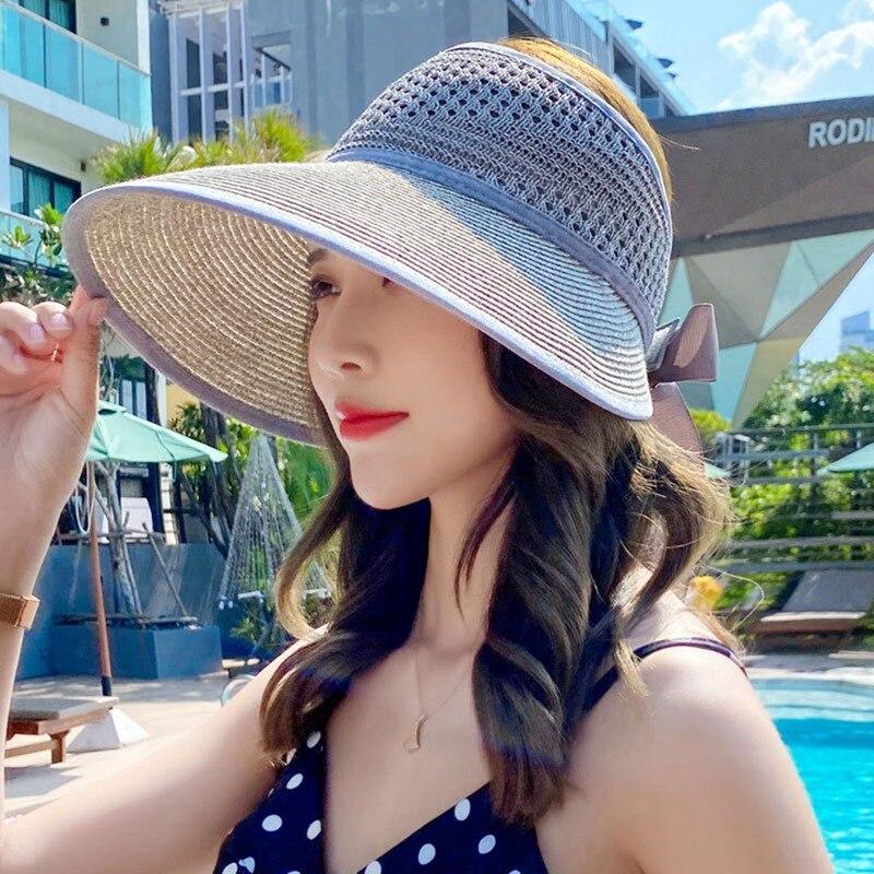 2021 Foldable Summer New Women's Sun Hat Bucket Cap Lace Bowknot Flowers Ribbon Flat Top Panama Soft Straw Hat Beach Caps