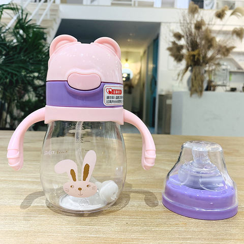 320ml Kids Feeding Straw Nipple Water Bottle Portable Hot Water Bottle Travel Mug Training Cup Learn Drinking Sippy Cup Two lids Multan