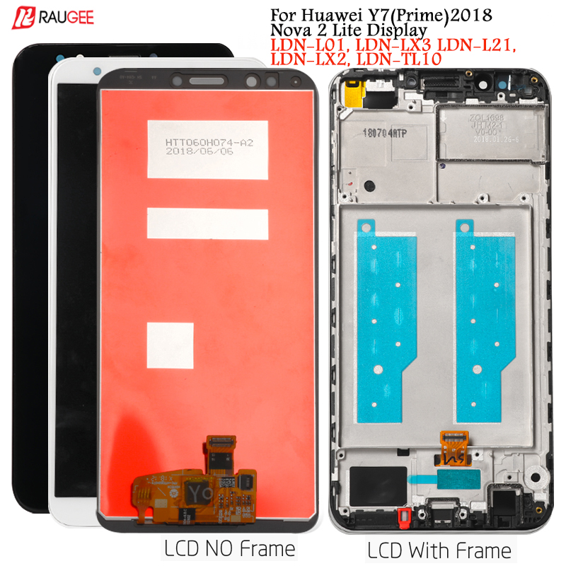 Display For Huawei Y7 (Prime) 2018 LCD Display Touch Screen Replacement For Nova 2 Lite Display Tested Lcds LDN-L01,LX3,L21,LX2