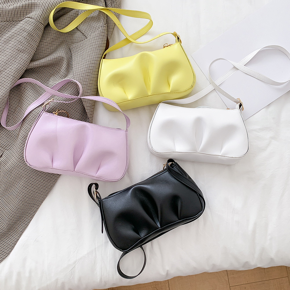 2020 Hot Sale Acrylic Chain Pleated Women Shoulder Bags Soft PU Leather Bags Solid Ladies Small Messenger Handbag And Purses