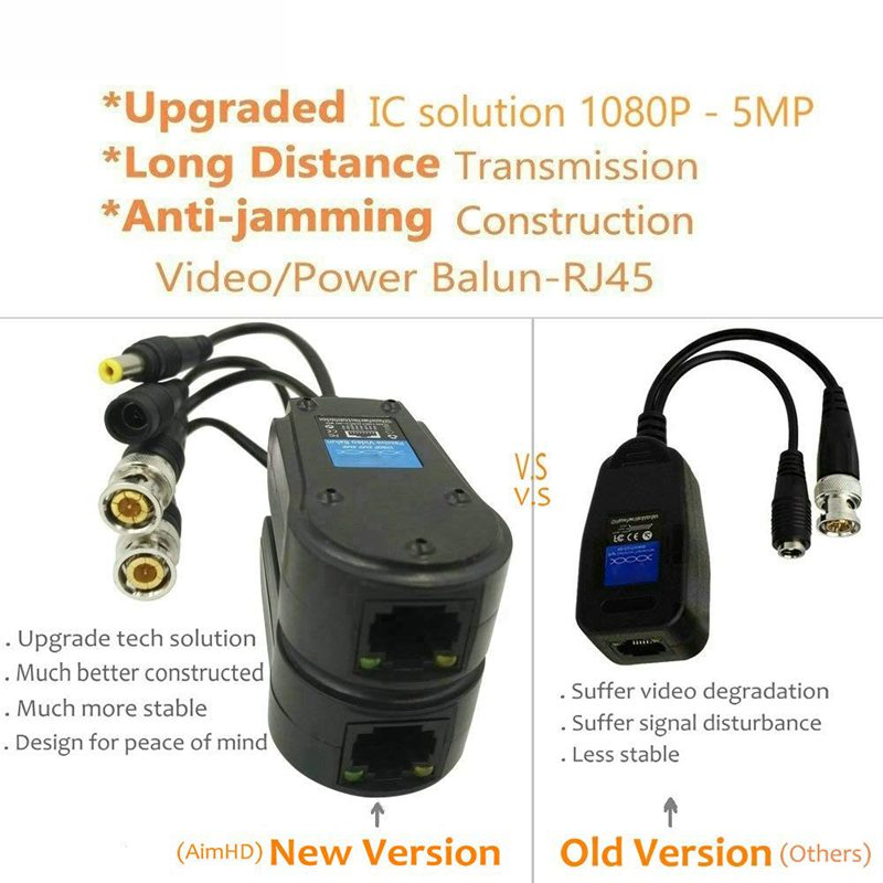 4 Pair Passive Video/Power Balun Upgraded 1080P-5Mp Bnc To Rj45 Long Distance Network Transceiver Cat5E/Cat6 Cable To Bnc Male A