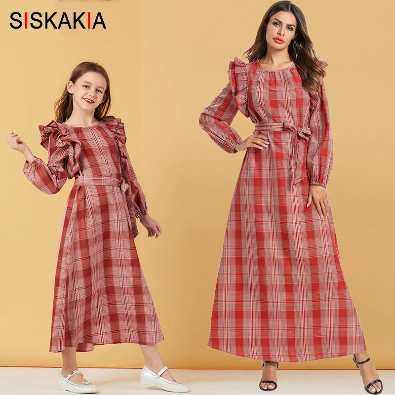 Siskakia Mommy And Me Family Matching Clothes Autumn 2019 Sweet Plaid Long Dress Red Ruffles Patchwork Mother Daughter Dresses