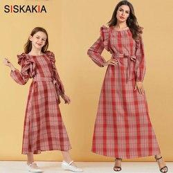 Siskakia mamãe e eu família roupas combinando outono 2019 doce xadrez vestido longo vermelho babados retalhos mãe filha vestidos
