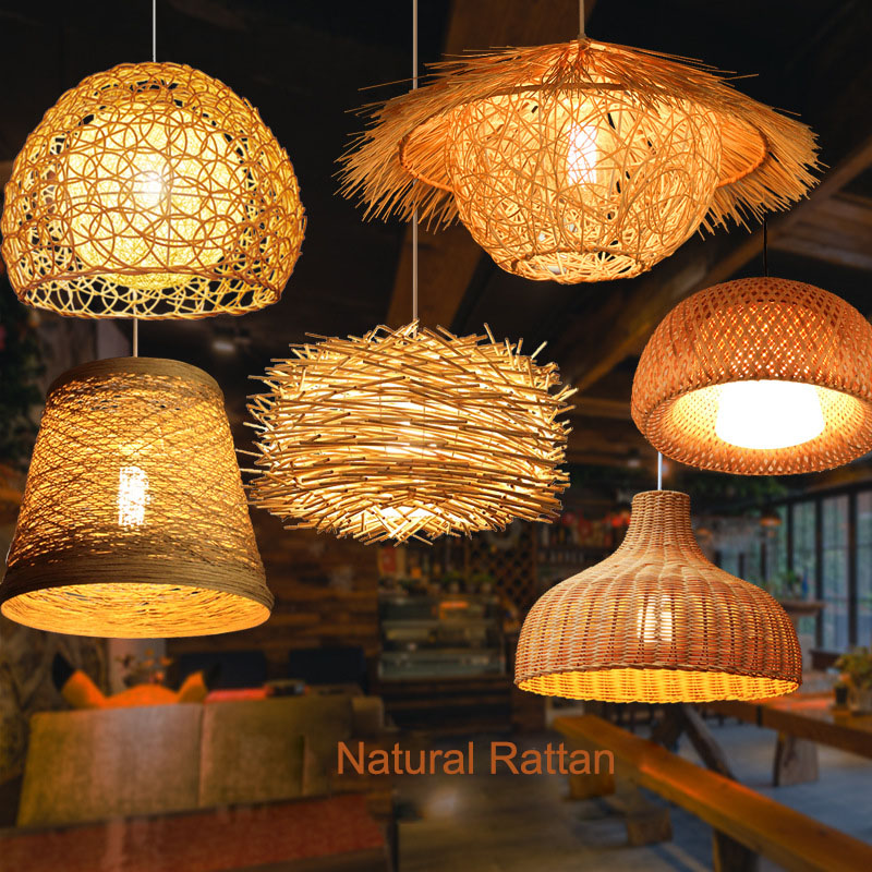 LED Rattan Chandelier Round Bird's Nest House Straw Hat Bamboo Lamp Creative Pastoral Vintage Balcony Restaurant Chandelie Light