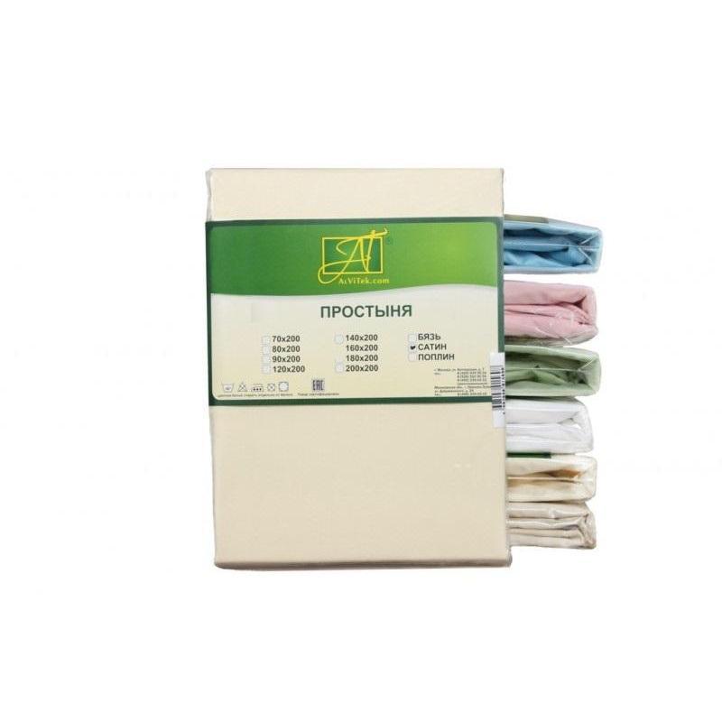 Фото - Bed Sheet АльВиТек, 180*214 cm, cream white, Satin bed sheet альвитек 150 214 cm white
