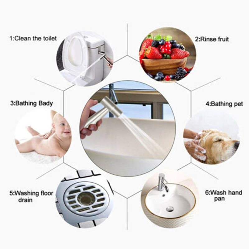 Bathroom Shower Head Stainless Steel Hand Held Toilet Bidet Water Spray Head Tool Parts Accessories