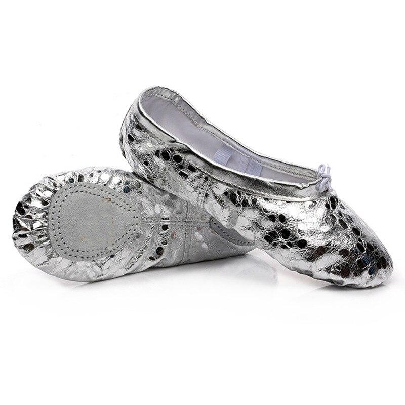 USHINE Quality Silver Body Shaping Training Flip Flops Yoga Gym Belly Ballet Dance Shoes Children Girls Woman