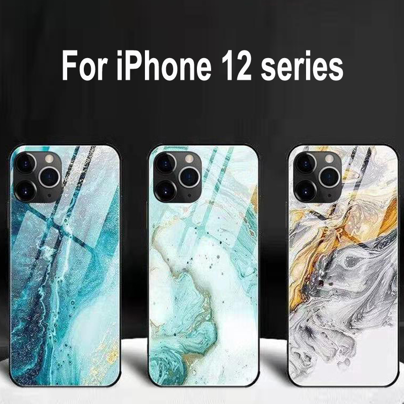 Luxury Marble Glass Waterproof Phone Case for iPhone 12 Pro Max