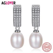 AGLOVER Original 925 Silver Zircon Drop Earrings Genuine Natural Freshwater Pearl Earrings Pearl Jewelry Women Christmas Gift