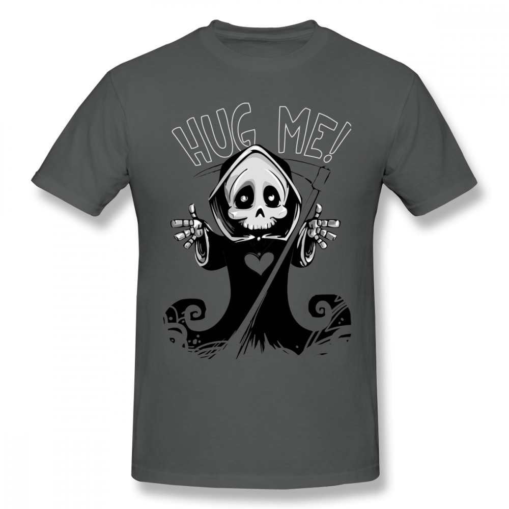 Reaper T Shirt <font><b>Hug</b></font> Me T-Shirt Oversize Short Sleeve Tee Shirt 100% Cotton Funny Man Basic Graphic <font><b>Tshirt</b></font> image