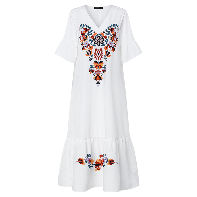 what a fun long and artistic dress,  5