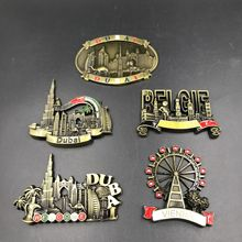 Dubai UAE Decorative Magnets Belgium Belgique Vienna Austria 3d Magnet Fridge Creative Metal Scenic Fridge Magnet Decor Souvenir