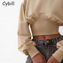 Cybill Solid Cropped Hoodies Women 2020 Long Sleeve Streetwear O Neck Pullover Sweatshirts Short Sweatshirt Hoodies(China)