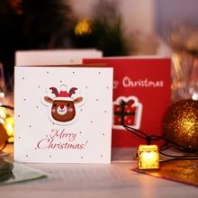 12pcs Cute Mini Greeting cards Creative merry christmas tree postcard Happy new year 2020 Gifts card Xmas party invitation Natal