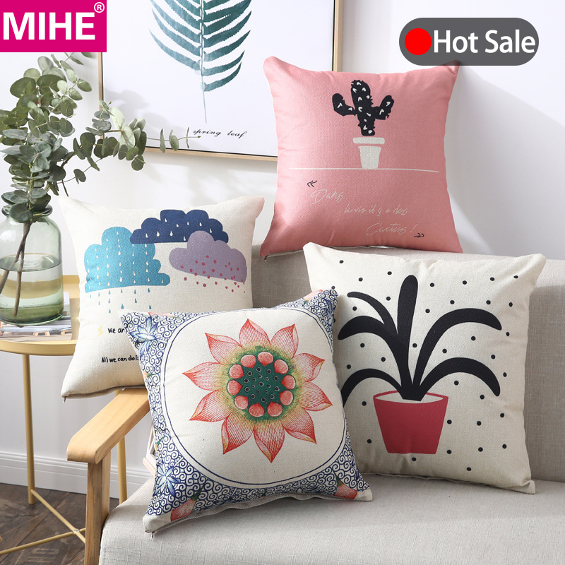 MIHE Plant Cushion Cover Decorative Pillow Case 40*40 45x45cm Printed Sofa Seat Case Car Pillowcase Soft Bed Pillow Covers BZT01