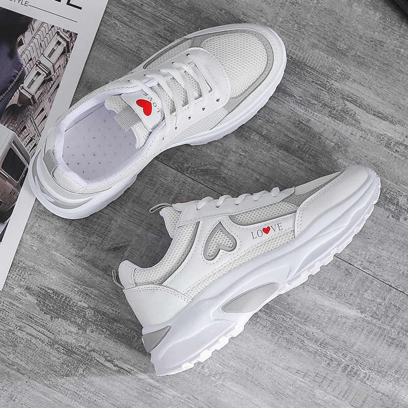 חדש סניקרס נשים 2020 לנשימה רשת נעליים יומיומיות נקבה אופנה Sneaker תחרה עד גבוהה פנאי נשים לגפר נעל פלטפורמה
