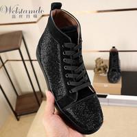 High Top CLSP Red bottoms Shoe Lace Up For Men White Rhinestone leather Gold Rivet casual High Cut Sneakers Flat Loafers 7500b