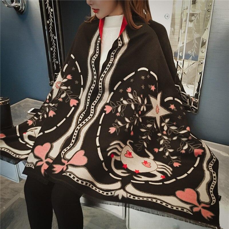 2019 winter   scarf   women shawls   wrap   fashion Zodiac constellation warm thick cashmere   scarves   lady female bandana quality Tassel