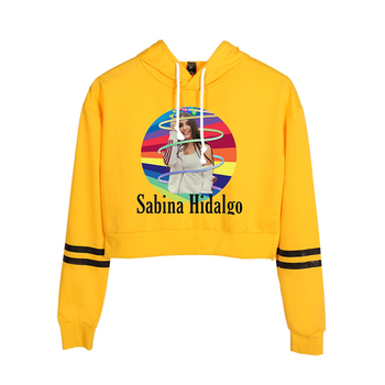 WAWNI Sabina Hidalgo Fashion Print Women's High Belt Hoodie Sweatshirt Casual Street Harajuku Cool Loose Short Hoodies 2020 image