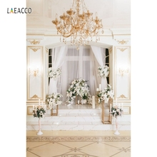 Laeacco Palace Interior Curtain Flowers Candle Wedding Photography Background Customized Photographic Backdrops For Photo Studio