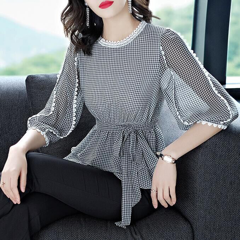 Women Spring Summer Style Chiffon Blouses Shirts Lady Casual O-Neck Plaided Printed Lantern Sleeve Blusas Tops DF3015